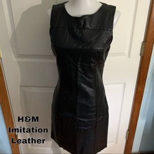 H&M imitation black leather dress
